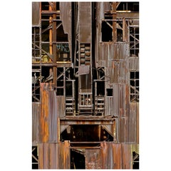 Rusted Metal Geographic Composition Digital Photographic Print by Dave Lasker