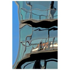 Architecture Blue Glass Reflection Digital Photographic Print by Dave Lasker