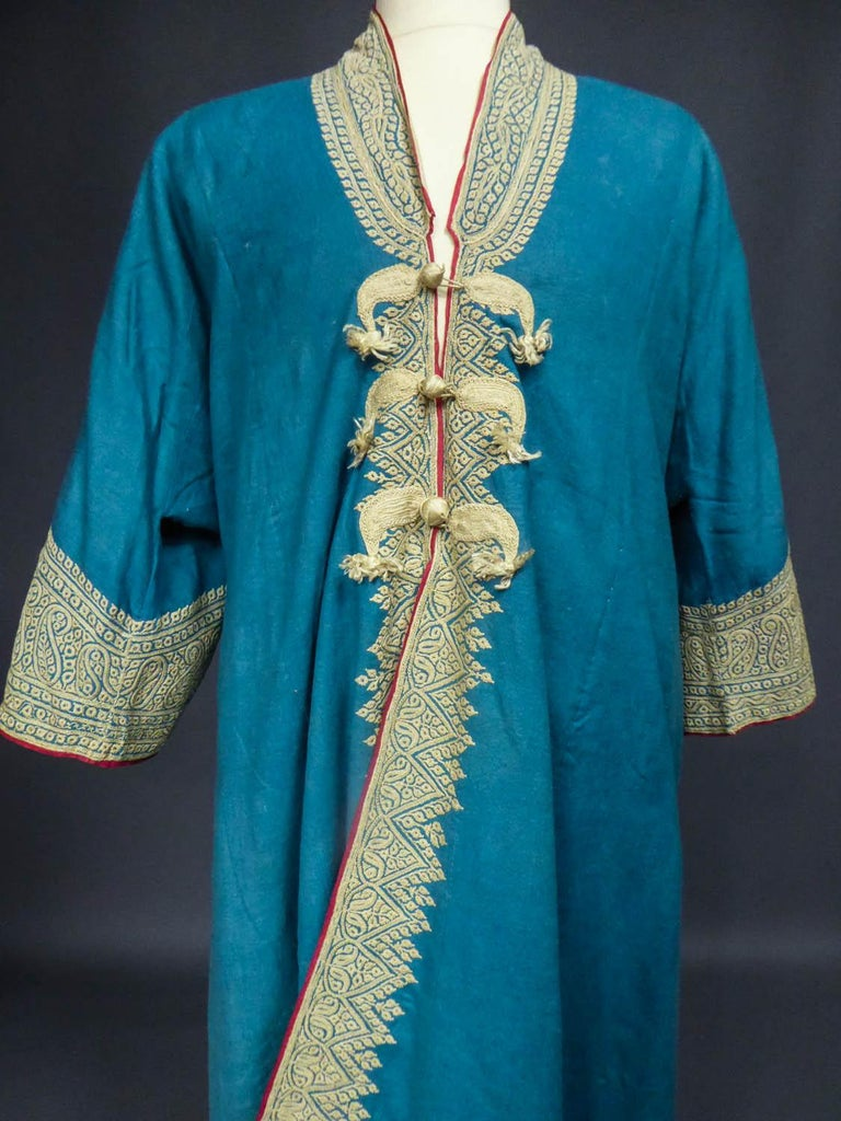Blue Dignitary coat or Choga - Indes Punjab 19th century For Sale