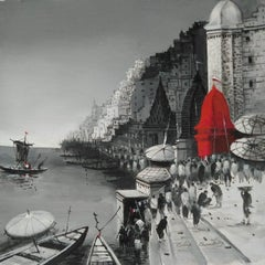"""Benaras, Acrylic on Canvas by Contemporary Indian Artist """"In Stock"""""""