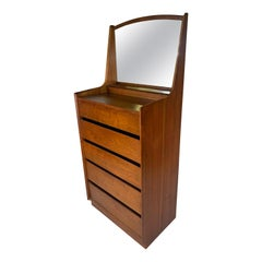 Dillingham Esprit Walnut Tall Chest with Attached Mirror