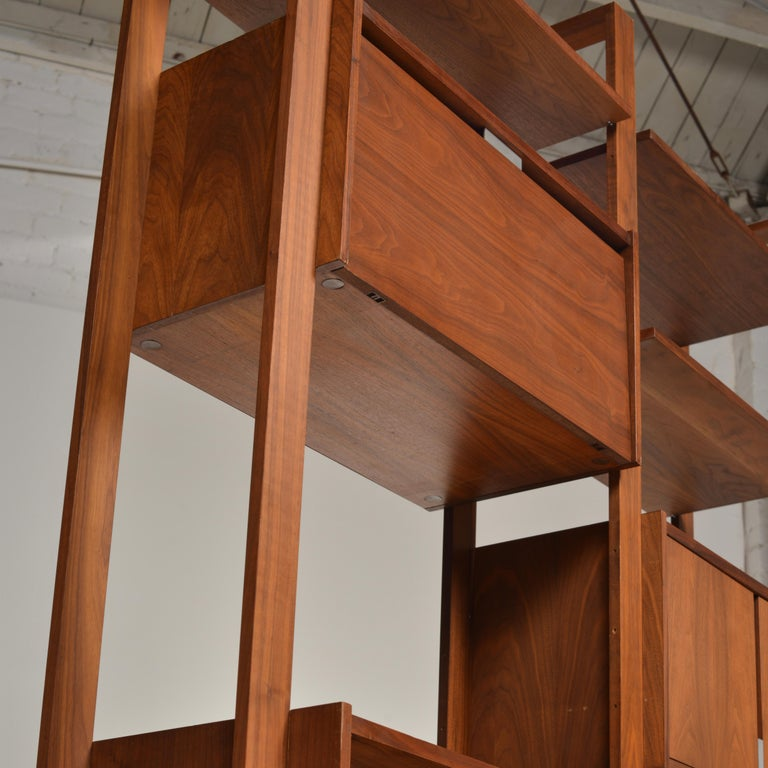 American Dillingham Free-Standing Walnut Wall Unit For Sale