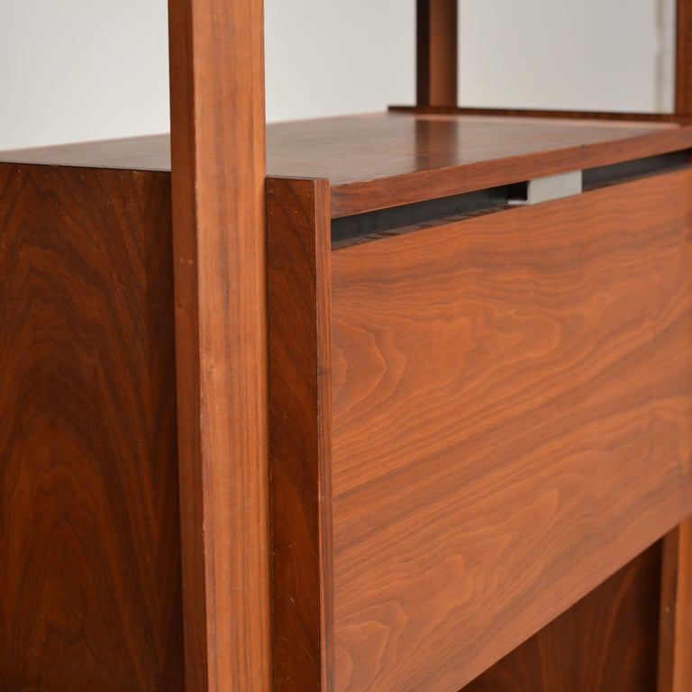 Dillingham Free-Standing Walnut Wall Unit In Good Condition For Sale In Los Angeles, CA