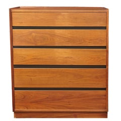 Dillingham Mid-Century Modern Walnut Five-Drawer Dresser