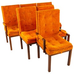 Dillingham Mid Century Orange and Walnut Upholstered Dining Chairs, Set of 6