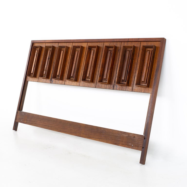Dillingham mid century pecky cypress and walnut queen headboard Headboard measures: 60 wide x 2.25 deep x 37.25 inches high  All pieces of furniture can be had in what we call restored vintage condition. That means the piece is restored upon