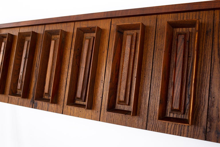 American Dillingham Mid Century Pecky Cypress and Walnut Queen Headboard For Sale