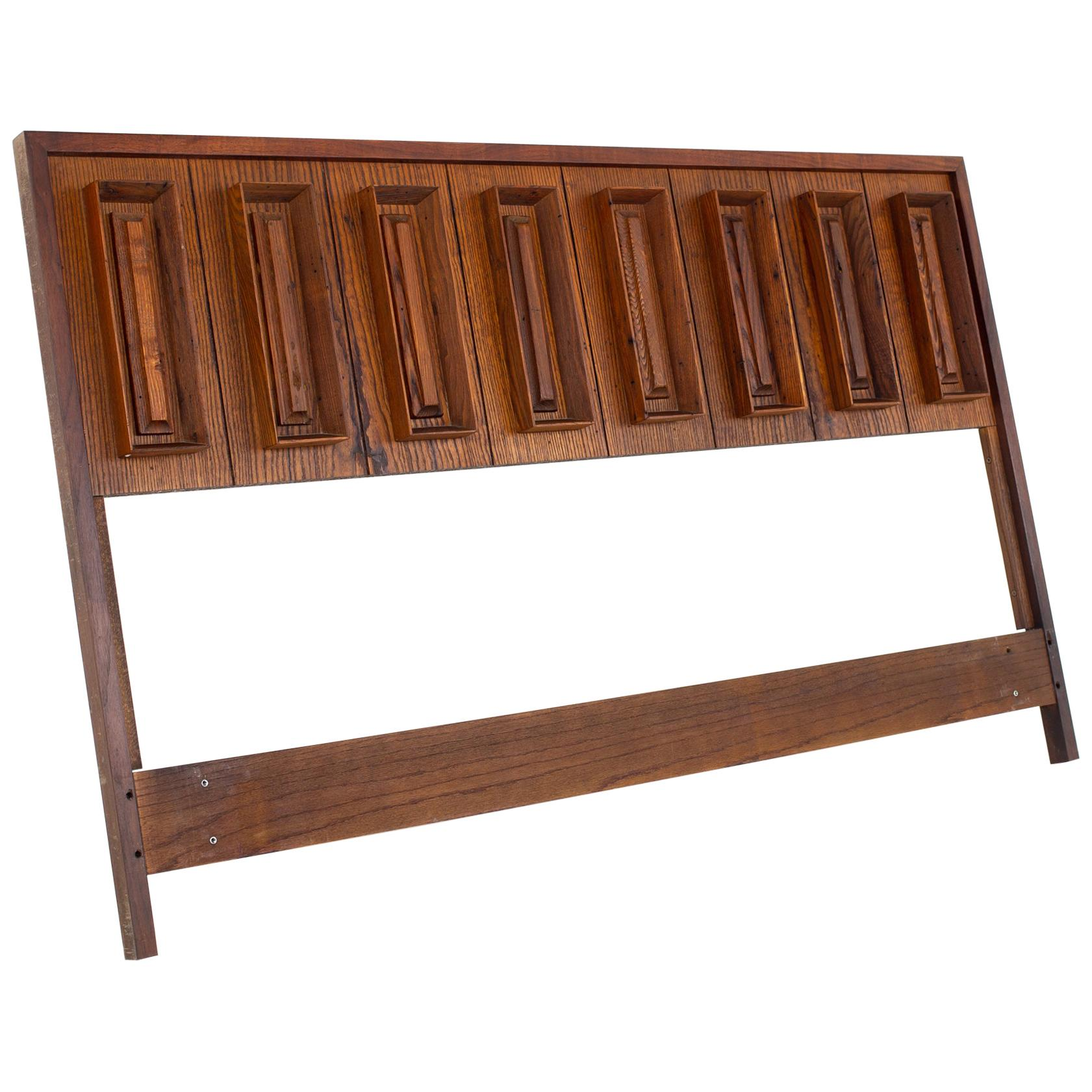 Dillingham Mid Century Pecky Cypress and Walnut Queen Headboard