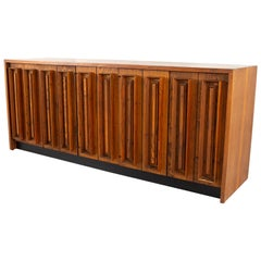 Dillingham Midcentury Pecky Cypress and Walnut Sideboard Credenza Buffet