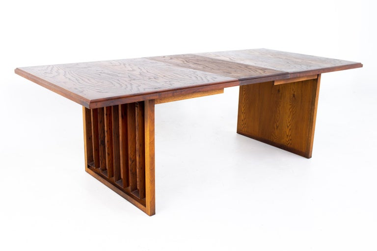 Dillingham Mid Century Pecky Cypress Dining Table For Sale 8