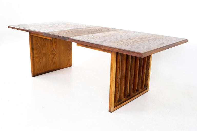 Dillingham Mid Century Pecky Cypress Dining Table For Sale 9