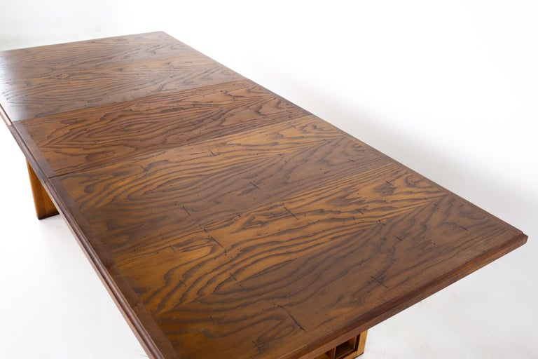 Dillingham Mid Century Pecky Cypress Dining Table For Sale 10