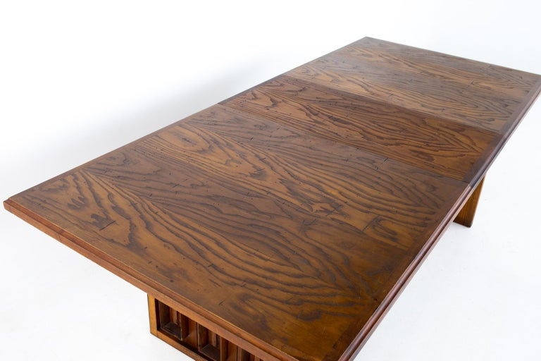 Dillingham Mid Century Pecky Cypress Dining Table For Sale 11
