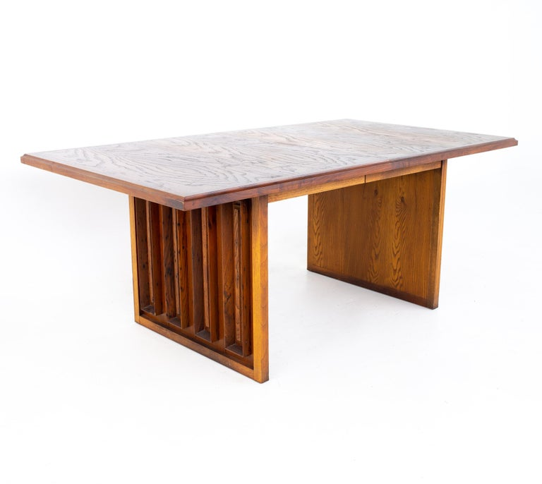Dillingham mid century pecky cypress dining table Table measures: 72 wide x 39.75 deep x 29.25 inches high (leaf sizes)  All pieces of furniture can be had in what we call restored vintage condition. That means the piece is restored upon purchase