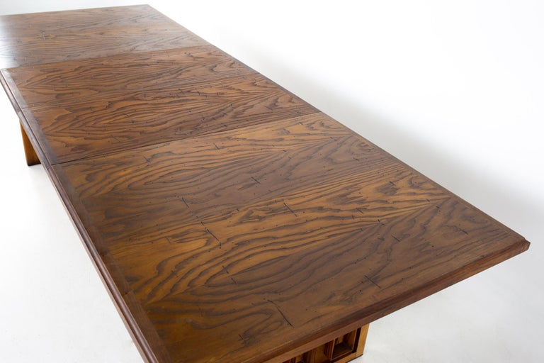 Dillingham Mid Century Pecky Cypress Dining Table For Sale 2