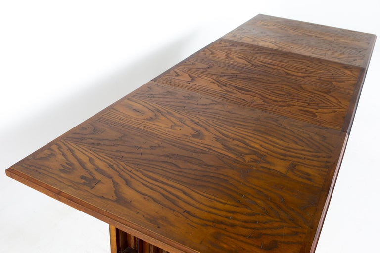 Dillingham Mid Century Pecky Cypress Dining Table For Sale 3