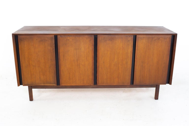 Dillingham Mid Century Walnut and Cane Sideboard Credenza Buffet and Hutch 5