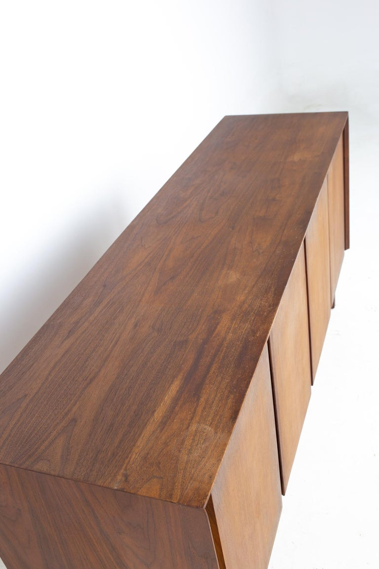 Dillingham Mid Century Walnut and Cane Sideboard Credenza Buffet and Hutch 6
