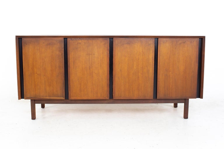 Dillingham Mid Century Walnut and Cane Sideboard Credenza Buffet and Hutch 8