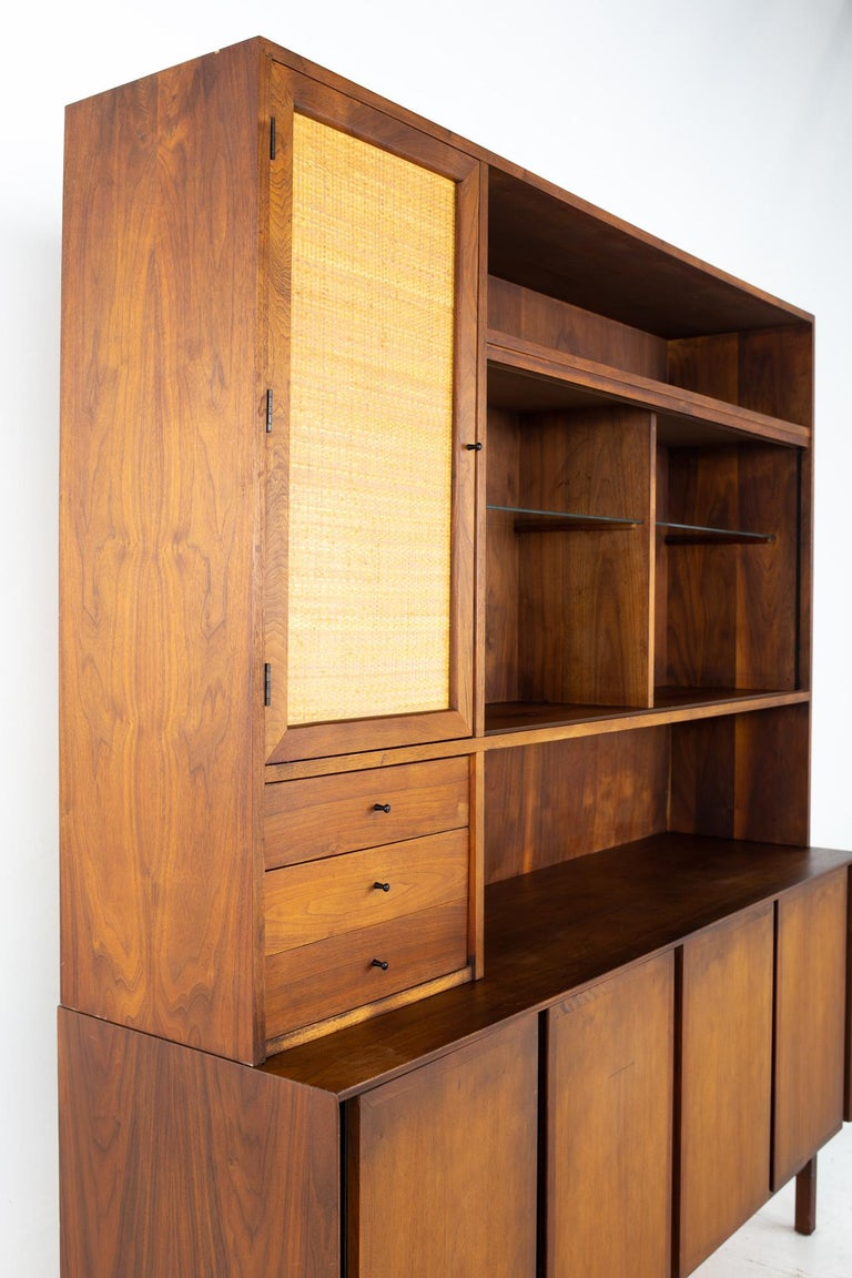 American Dillingham Mid Century Walnut and Cane Sideboard Credenza Buffet and Hutch