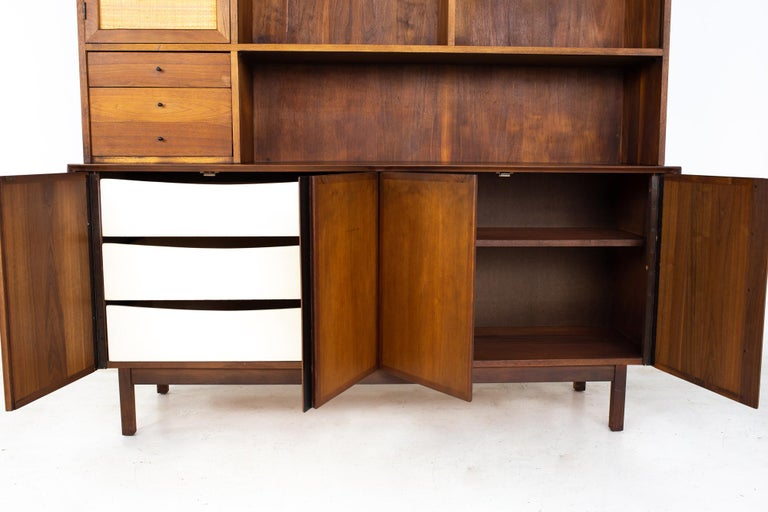 Dillingham Mid Century Walnut and Cane Sideboard Credenza Buffet and Hutch 1