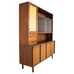 Dillingham Mid Century Walnut and Cane Sideboard Credenza Buffet and Hutch