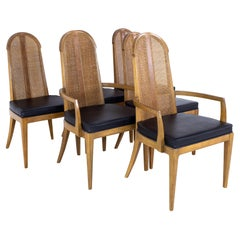 Dillingham Style Mid Century Walnut and Cane Dining Chairs, Set of 6