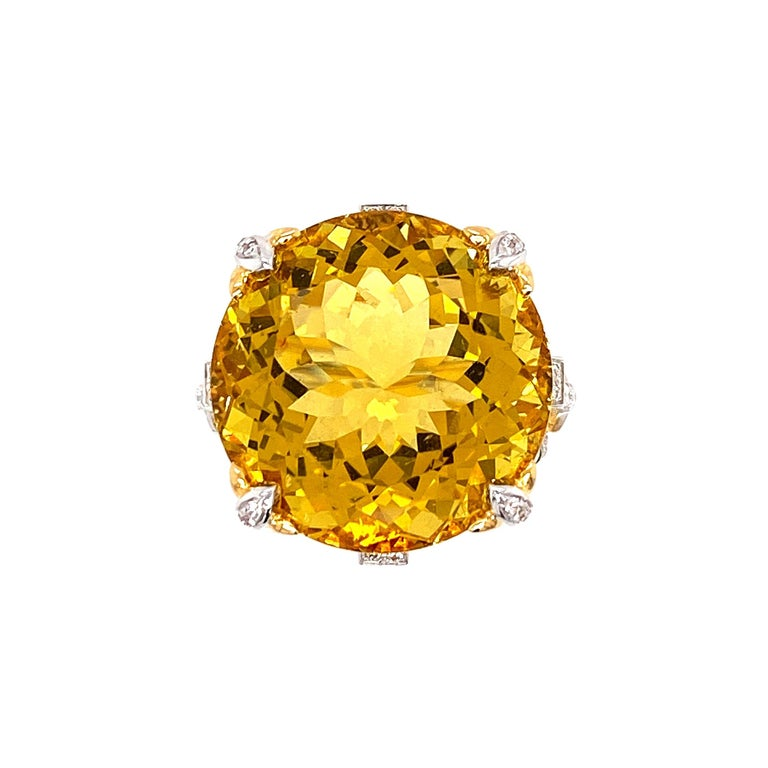Artisan Certified 19.06 Carat Natural Yellow Beryl and Diamond Statement Ring For Sale