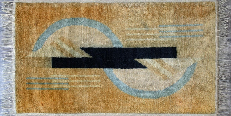 DIM (Decoration Interieure Moderne) rare knotted wool Art Deco carpet.