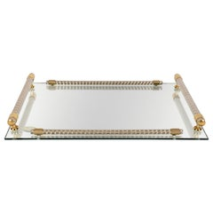 Dimart Milano 24-Karat Gold-Plated Italian Tray with Mirror and Brass, 1980s