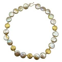 Dime Pearls Necklace 18 Karat Gold