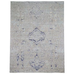 Diminishing Cypress Tree With Medallion Design Silk and Oxidized Rug