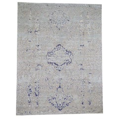 Diminishing Cypress Tree with Medallion Design Silk with Oxidized Rug