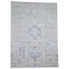 """Diminishing Cypress Tree With Medallion Design Silk With Oxidized Rug 8'9""""x12'1"""""""