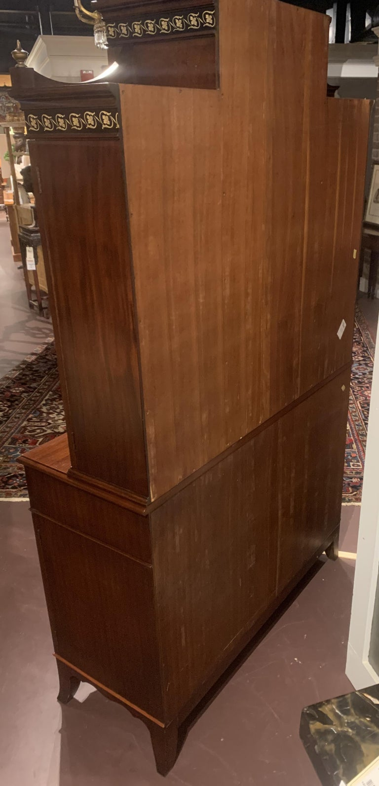 Diminutive Adam Style Breakfront Bookcase or China Cabinet by F&G Furniture Co For Sale 8