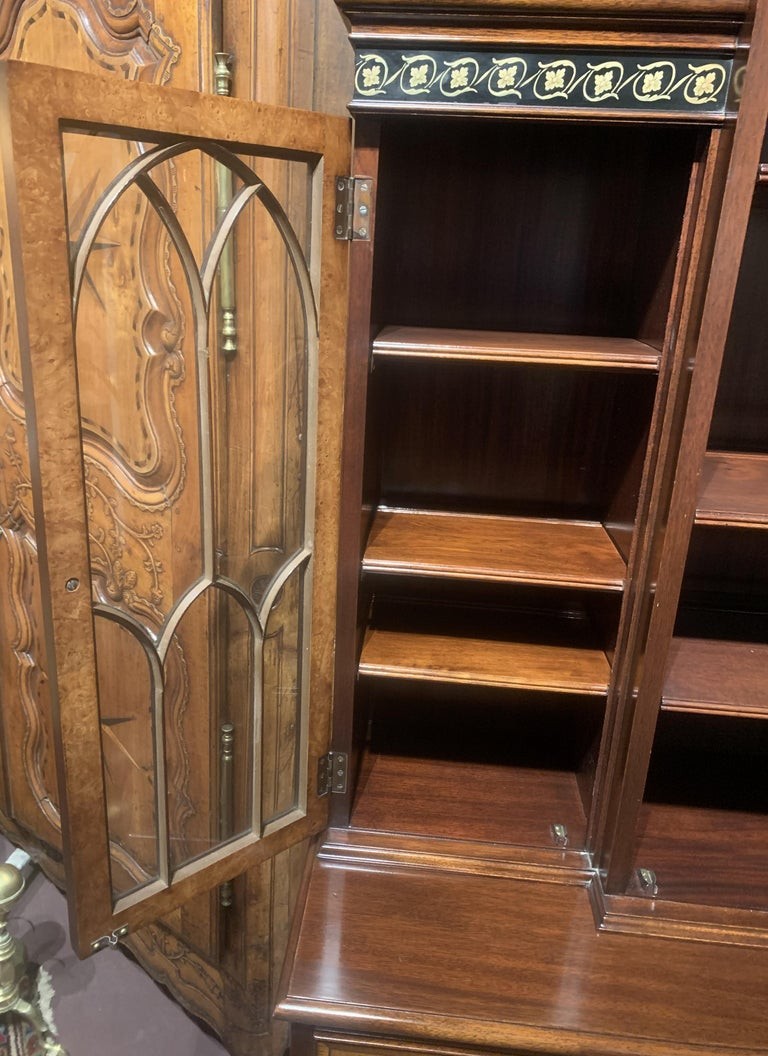 Glass Diminutive Adam Style Breakfront Bookcase or China Cabinet by F&G Furniture Co For Sale