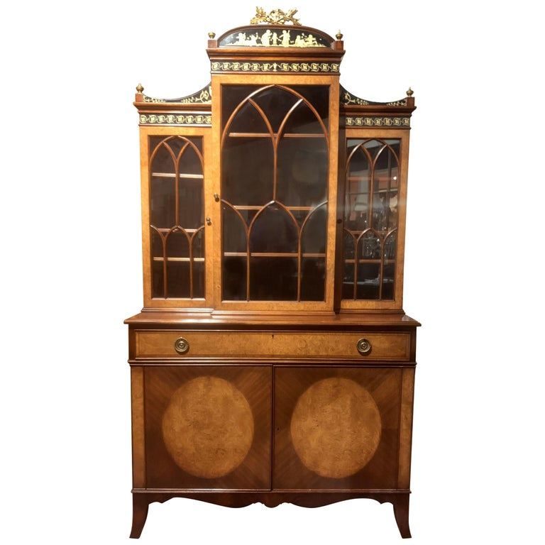 Diminutive Adam Style Breakfront Bookcase or China Cabinet by F&G Furniture Co For Sale
