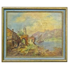 Diminutive Antique 19th Century Oil Painting of a Rural Coastal Scene Gilt Frame