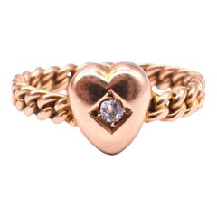 Diminutive Antique Heart Ring with Rope Band