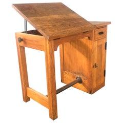 Diminutive Antique Oak Architects Desk / Drafting Table, Adjustable Top