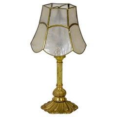 Diminutive Brass Lamp w/ Capiz Shell Shade '3 Available'