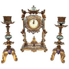 Diminutive Chinoiserie Champlevé Enamel Clock Set