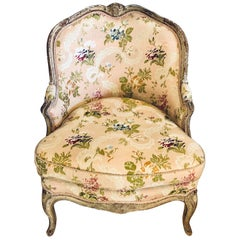 Diminutive Distressed Painted Louis XV Style Slipper Chair in Scalmandre Fabric
