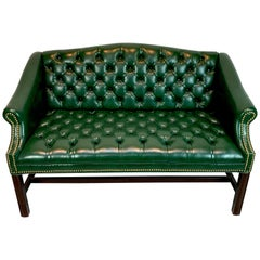 Diminutive English Green Leather Chesterfield Bench or Loveseat