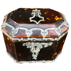 Diminutive English Tea Caddy of Tortoise Shell with Sterling Silver Mounts