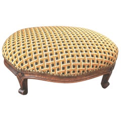 Oval French Hand Carved Walnut Stool