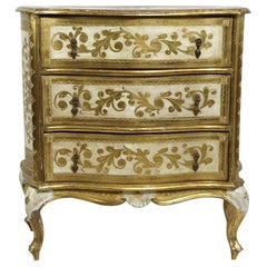 Diminutive Giltwood Three-Drawer Dresser Made in Italy for Florentine Furniture