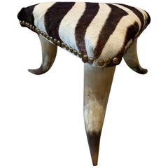 Diminutive Horn Stool with Zebra Skin