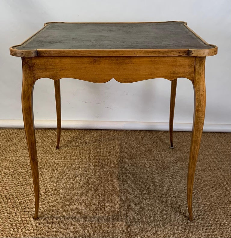 American Diminutive Leather Topped Games Table For Sale
