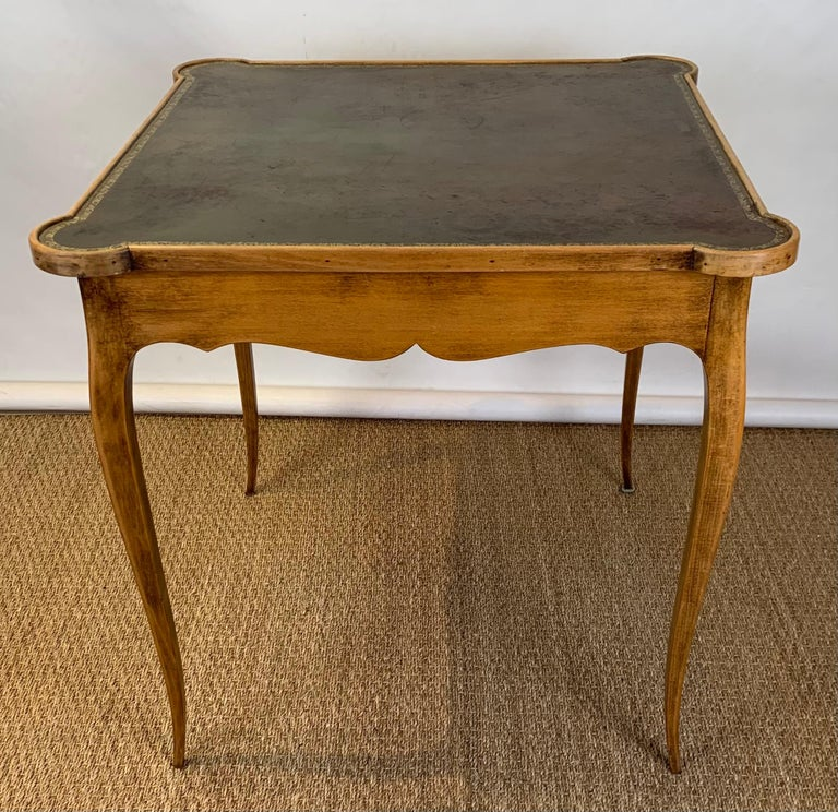 Hand-Crafted Diminutive Leather Topped Games Table For Sale